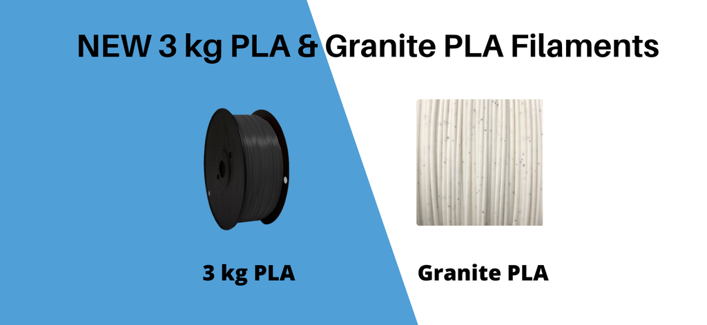 New Print Your Mind 3D Filaments - 3kg PLA and Granite PLA Filament