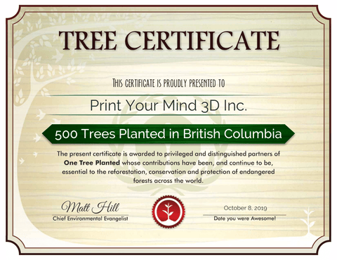 500 trees planted by Print Your Mind 3D