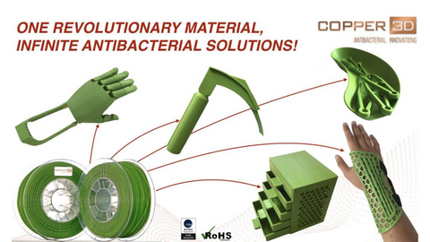 Copper3d PLACTIVE Antimicrobial Applications