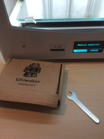 nozzle kit and wrench included with Ultimaker 2+ 3D printer