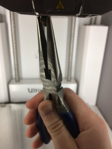Using pliers on Ultimaker 2+ 3D printer nozzle