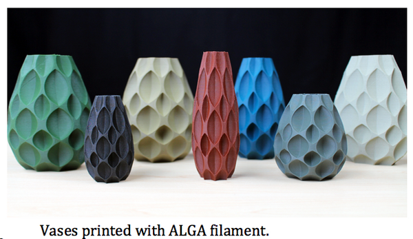 3d printed vase using ALGA filament