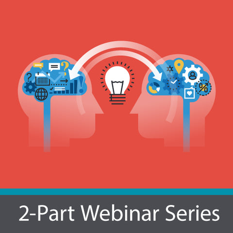 2-Part Webinar series logo. Two heads facing each other with a light bulb between them.