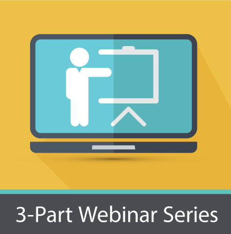 3-part webinar series image. Monitor with a man and whiteboard.