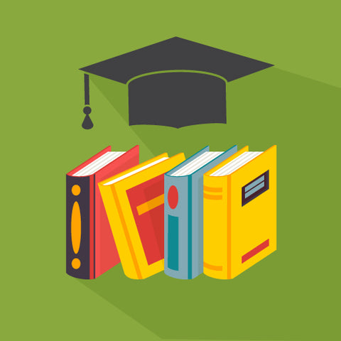 a row of books with a graduation cap above on a green background.