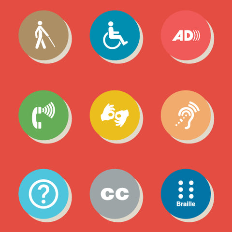 Round different colored circles with various images such as wheelchair, phone, question mark, closed captions, person with a walking stick on a red background.