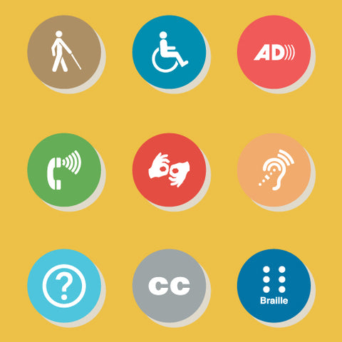 Various colored circles with accessibility symbols on a yellow background.