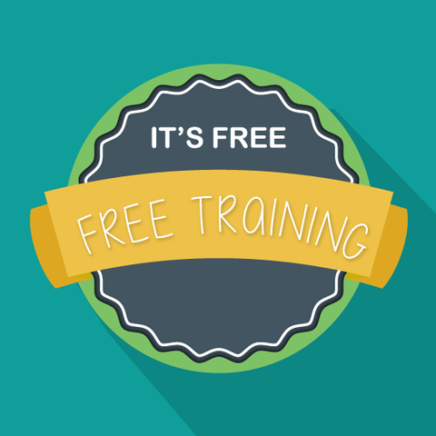 Free training banner in teal background.