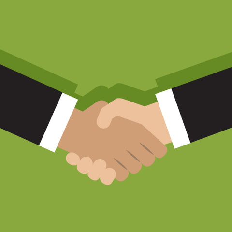 Image of a handshake on a green background.
