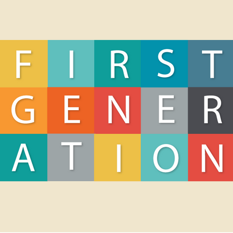 The word first-generation on a beige background.