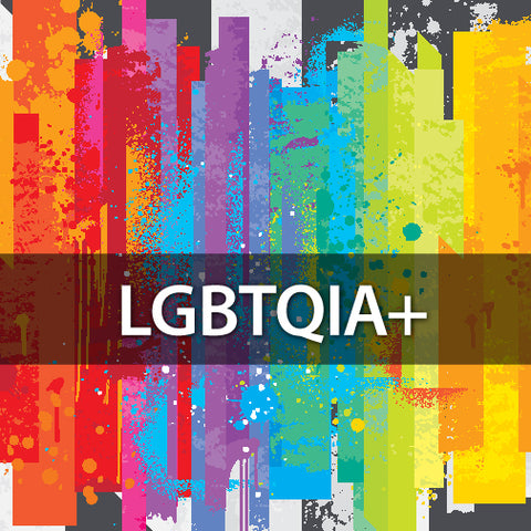 LGBTQIA+ text on a rainbow colored background.