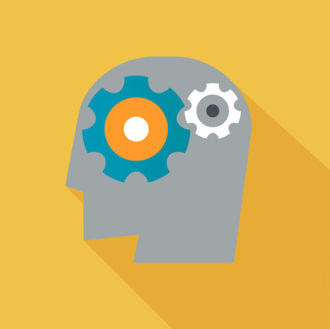 Human head with gears in yellow background.