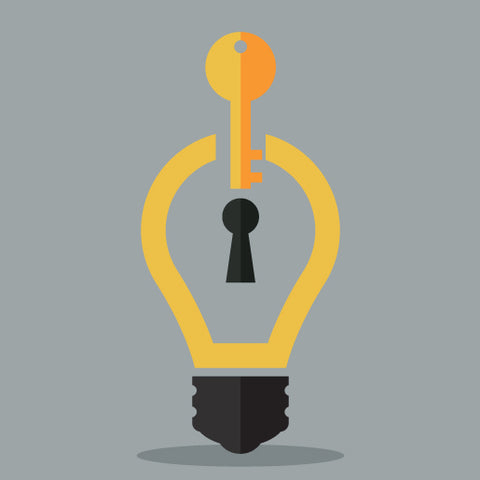 Image of lightbulb and key.