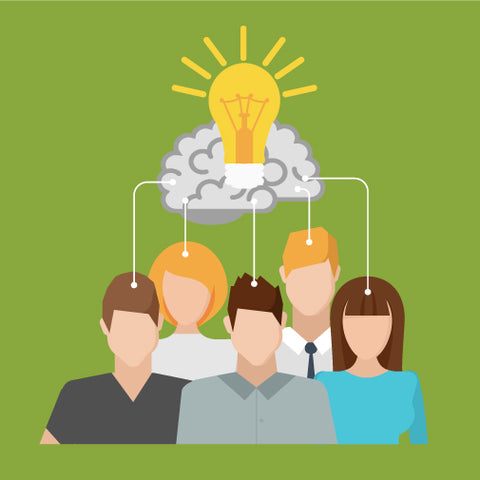 Group of students with a lightbulb above them on a green background.