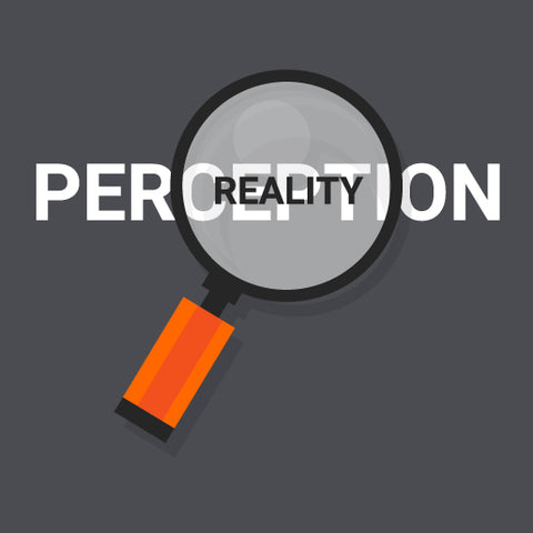 Magnifying glass highlighting the words perception and reality on a dark grey background.
