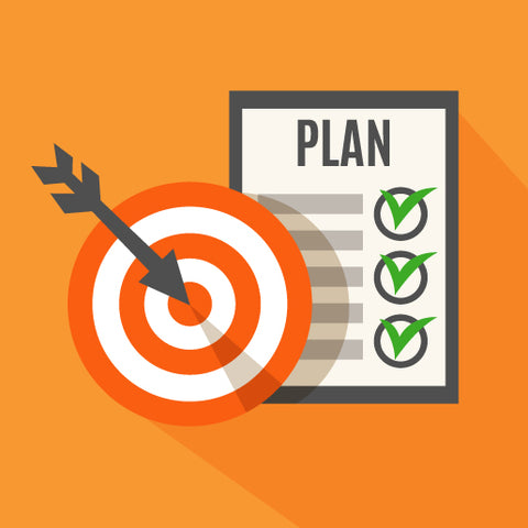 Orange background. Black dart in the center of a red target. Three green checkmarks on a white paper with the word Plan.