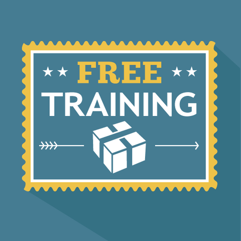 Free Training stamp on a blue background.
