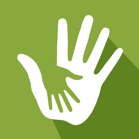 Green background with a small green hand on top of a large white hand.