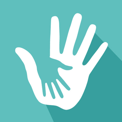 Large white hand supporting a small green hand on a green background.