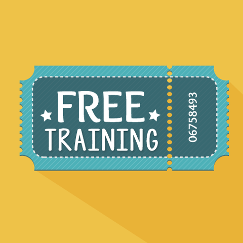 Free training ticket on a yellow background.
