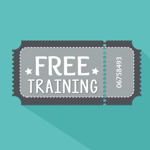 Ticket with the words FREE Training on a turquoise background.