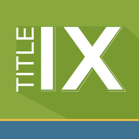Title IX logo: White text on green background.
