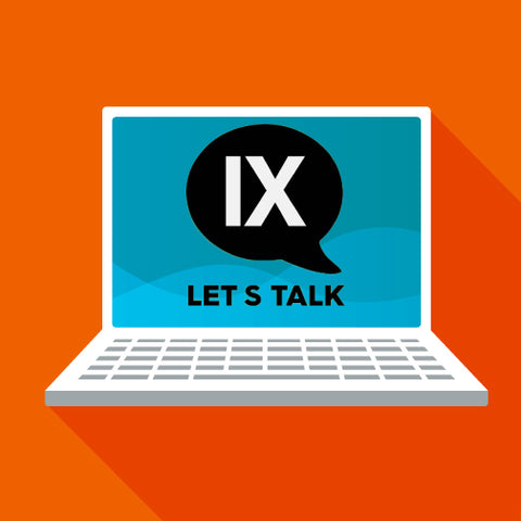 image of a laptop with title ix logo and the words let's talk.