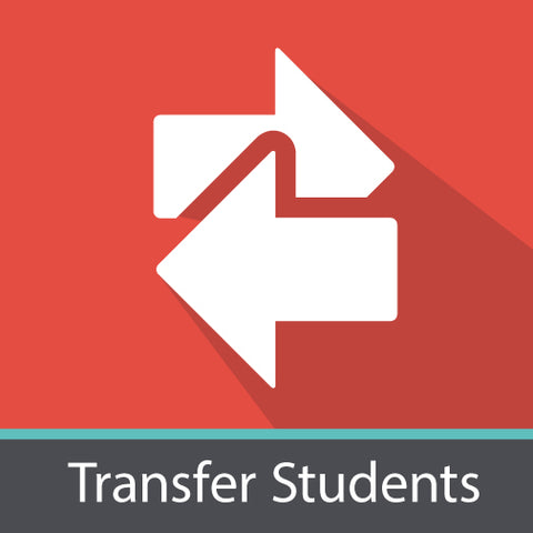 "Image of two arrows and ""transfer students""."
