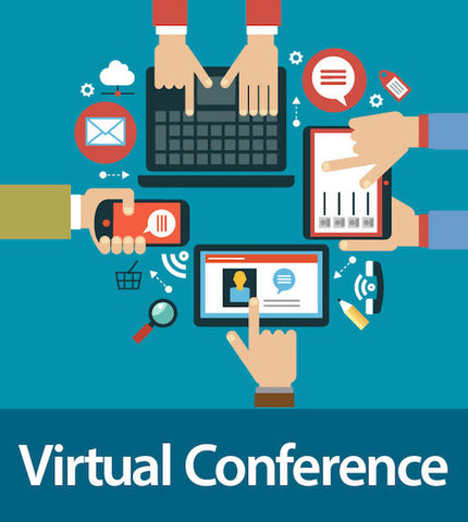 Hands on electronic devices. Virtual Conference wording.