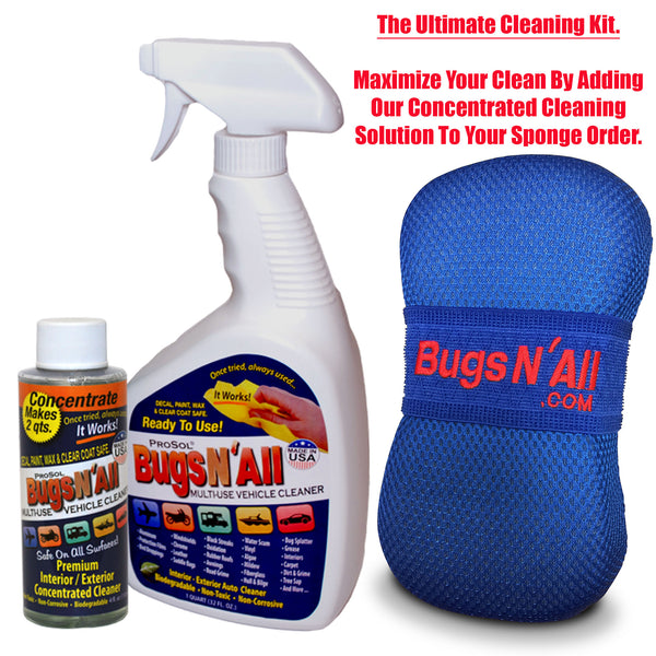 Bugs N All Car Care Bug Sponge With Ultra Soft Nano Microfiber Mesh for Scratch Free Scrubbing and Cleaning of Bugs, Road Grime, Tar, Pine and Tree Sap Pitch.