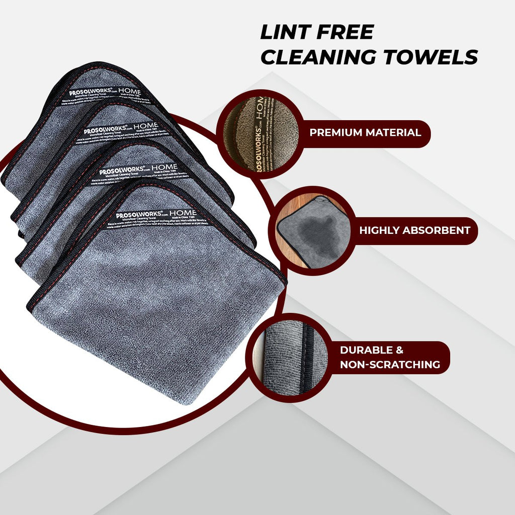 "Microfiber Cleaning Cloth Set - 4-Pack 14""X14"""
