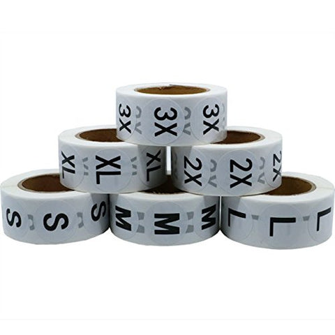 Retail Apparel White Round Stickers - 6 Rolls Assorted