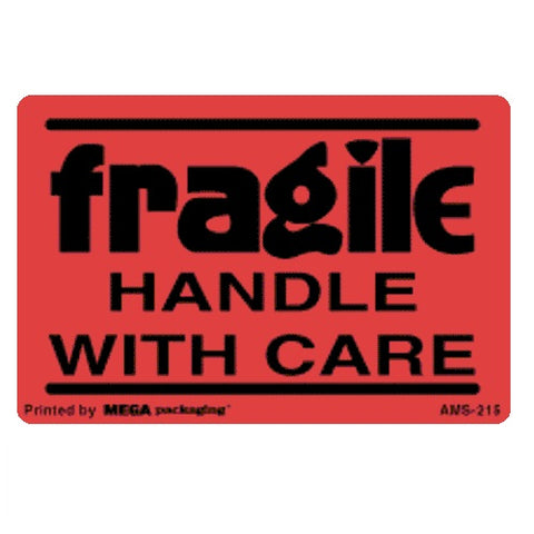 "2"" X 3"" Fragile Handle With Care Flourescent Shipping Label 500/ ROLL"
