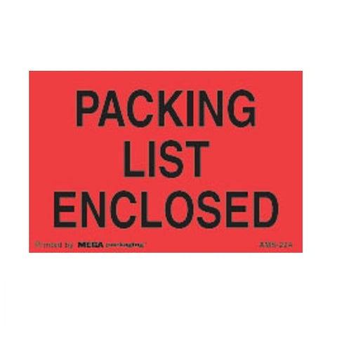 "Packing List Enclosed Shipping Label 2"" X 3"""
