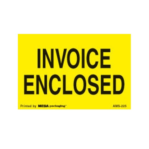 "INVOICE ENCLOSED 2"" x 3"" Shipping Label"