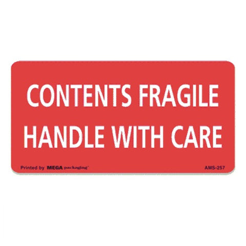 "CONTENTS FRAGILE HANDLE WITH CARE label  2"" x 4"""