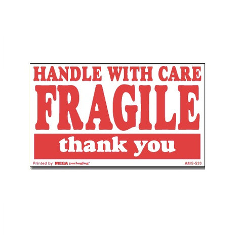 "HANDLE WITH CARE FRAGILE thank you Shipping Label 3"" x 5"""