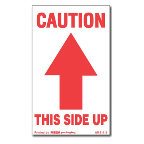 "Caution This Side Up with Arrow Up Shipping Label 3"" x 5"""