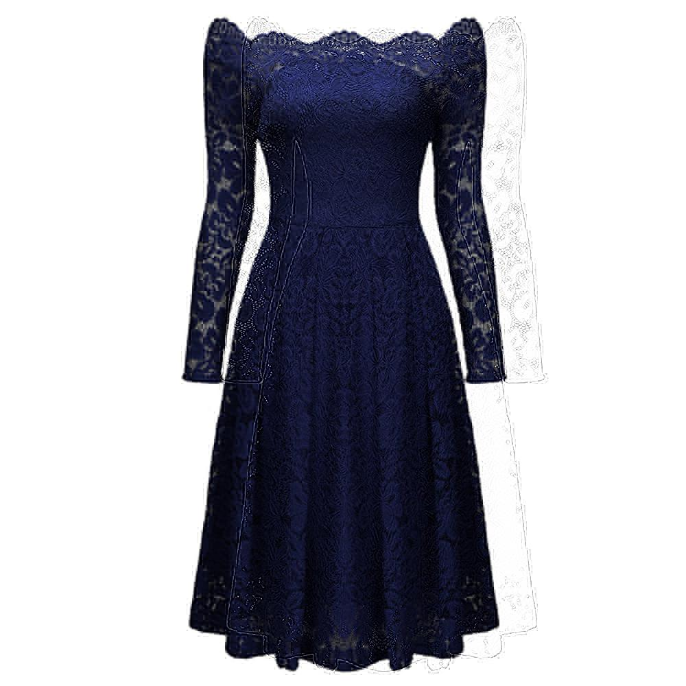 Women Sexy Vintage Floral Knee-Length Lace Dress
