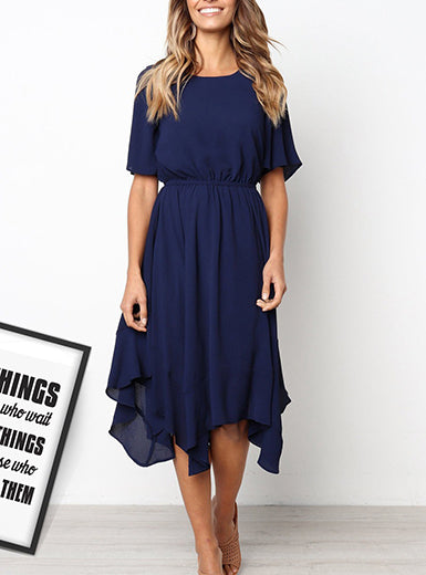 Women's Casual Short Sleeved Dress - Handkerchief Hemline
