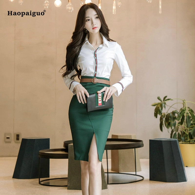 White  Blouse and Green Pencil Skirts
