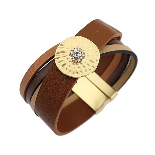 Handmade Round Metal Rhinestone Leather Magnetic Bangle Bracelets