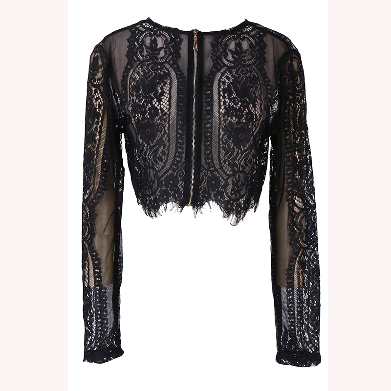 Spring/Summer Black lace women tops
