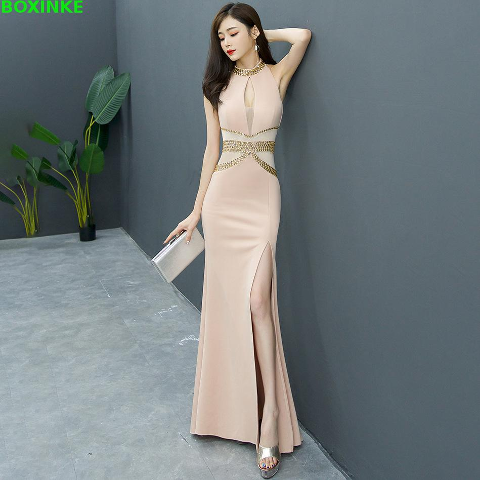 Deep V Rhinestone Hollow Out Boutique Evening Dresses