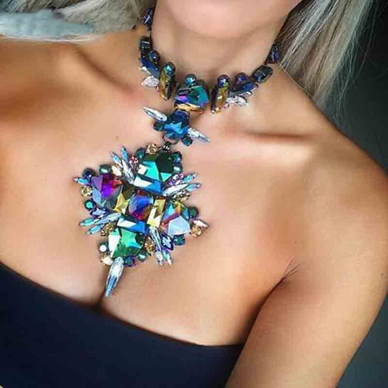 Geometric Fashion Crystal Choker Necklace
