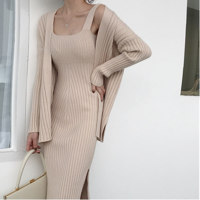Women's Casual Long Sleeved Cardigan + Suspenders Sweater Vest Dress