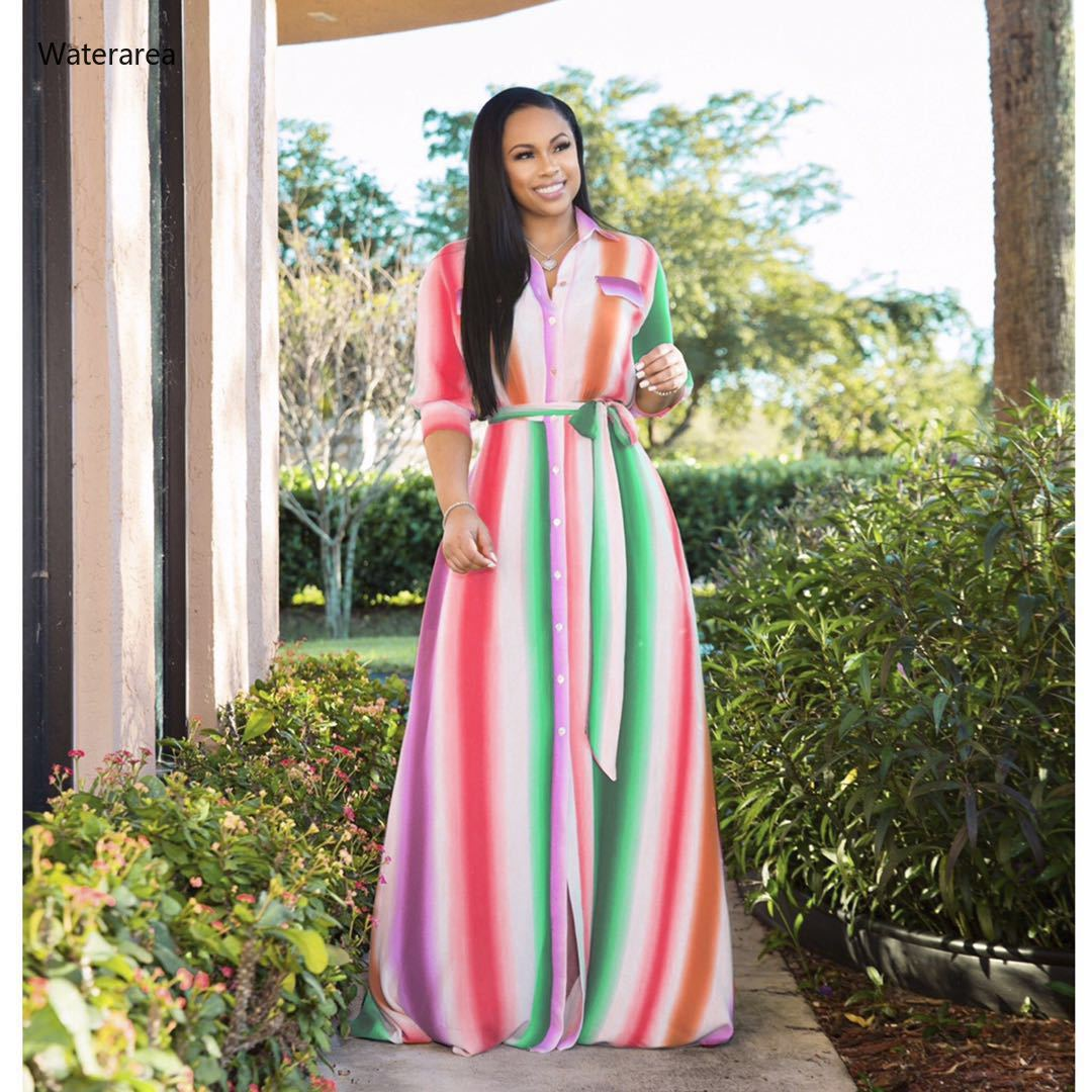 Plus-Size Striped Maxi Dress