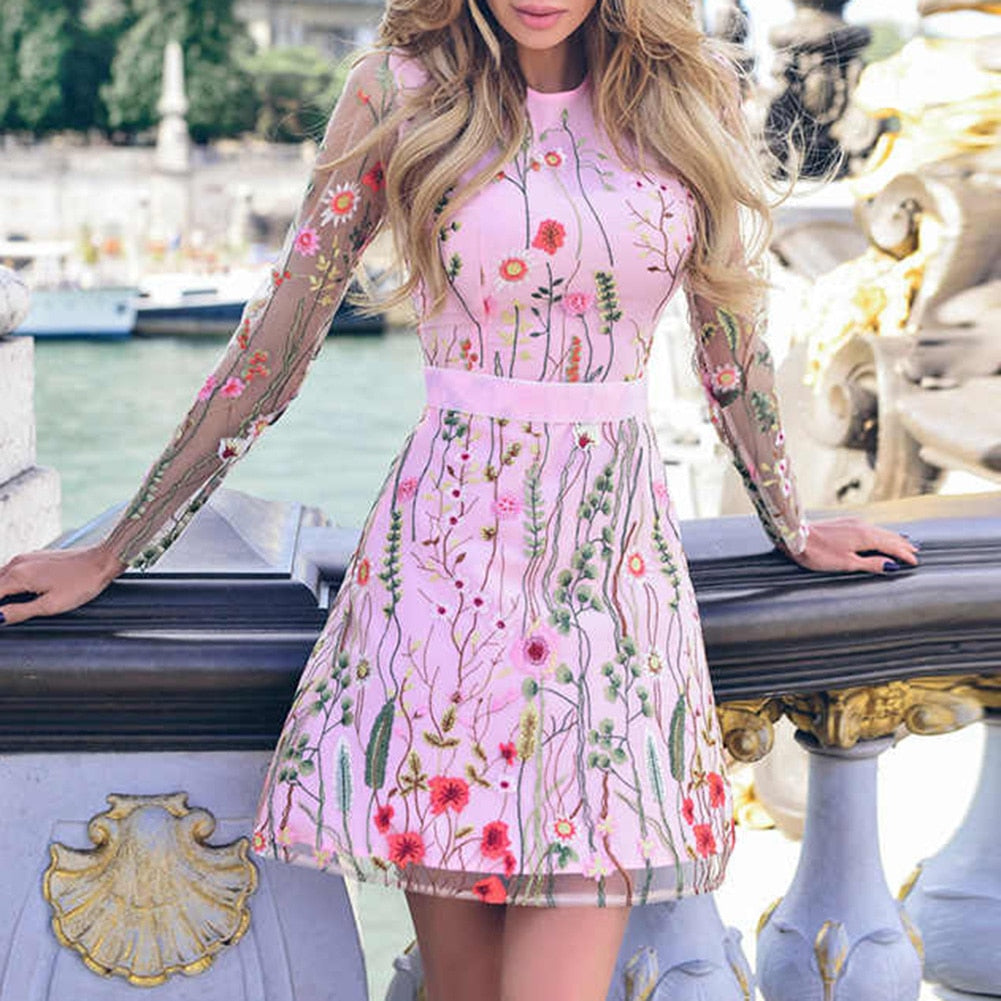 Women Vintage Floral Embroidery Sheer Mesh Dress