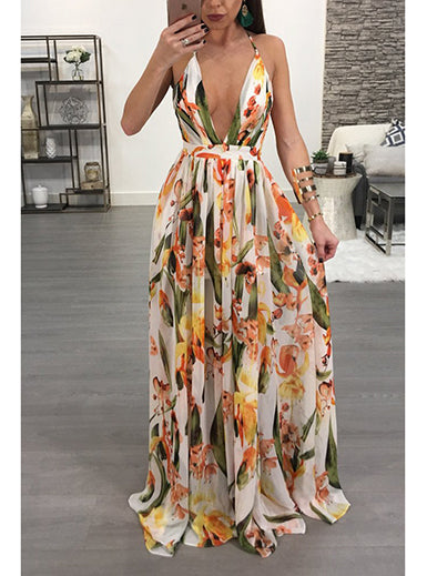 Maxi Dress - Deep V Neckline / Pastel Floral Printed