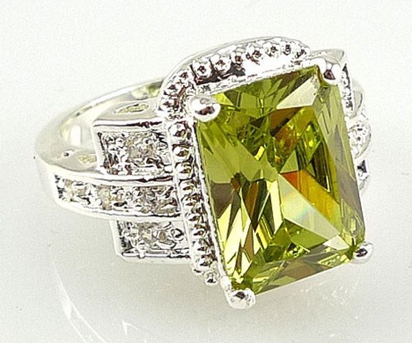 Fashion women 925 sterling  silver peridot & white topaz gemstones Rings Size 6 7 8 9 10